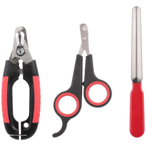 Dog Nail Clipper With Latch Grooming Scissors Nail File 3Pcs