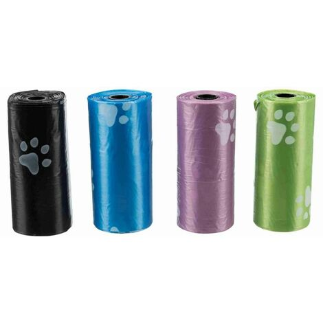 Dog pick up sacs ramasse crottes - 4 rouleaux de 20 sacs, S, assortis