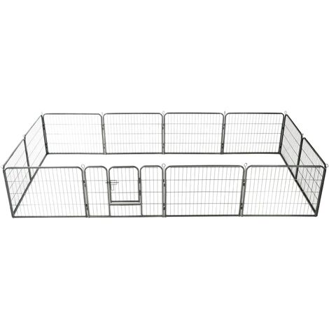 Dog Playpen 12 Panels Steel 80x60 cm Black