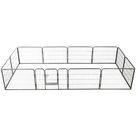 Dog Playpen 12 Panels Steel 80x60 cm Black