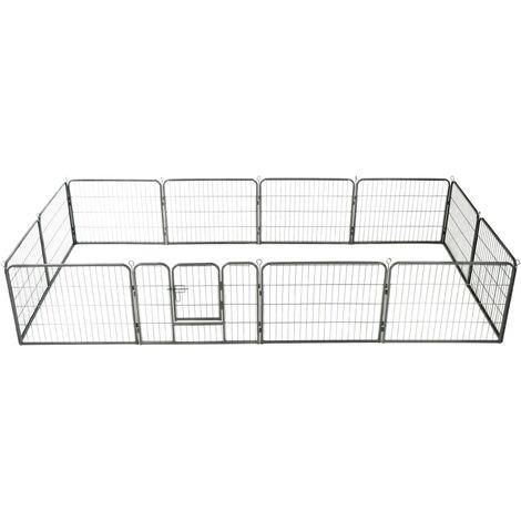 Dog Playpen 12 Panels Steel 80x60 cm Black - Black