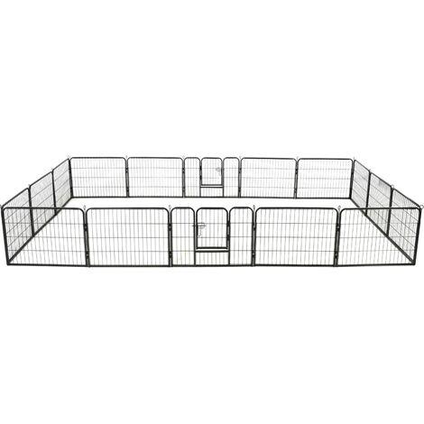 Dog Playpen 16 Panels Steel 60x80 cm Black