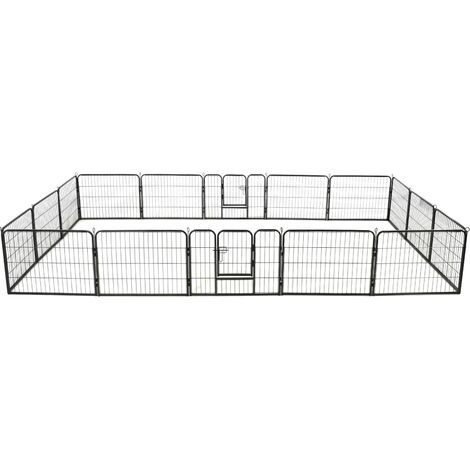 Dog Playpen 16 Panels Steel 60x80 cm Black - Black