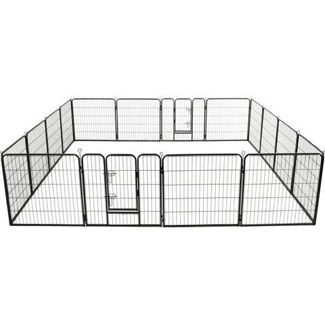 Dog Playpen 16 Panels Steel 80x80 cm Black
