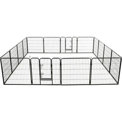 Dog Playpen 16 Panels Steel 80x80 cm Black - Black