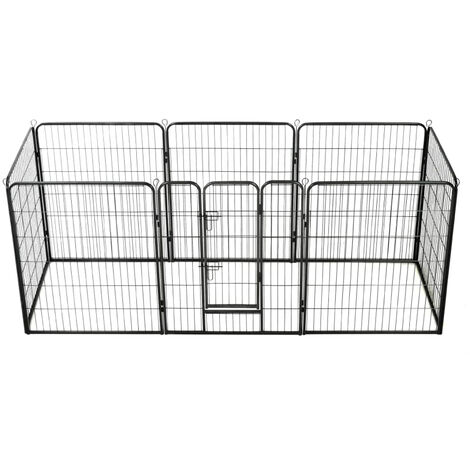 Dog Playpen 8 Panels Steel 80x100 cm Black