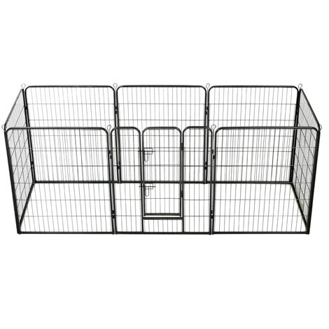Dog Playpen 8 Panels Steel 80x100 cm Black - Black
