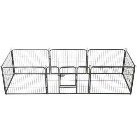 Dog Playpen 8 Panels Steel 80x60 cm Black - Black