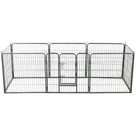 Dog Playpen 8 Panels Steel 80x80 cm Black