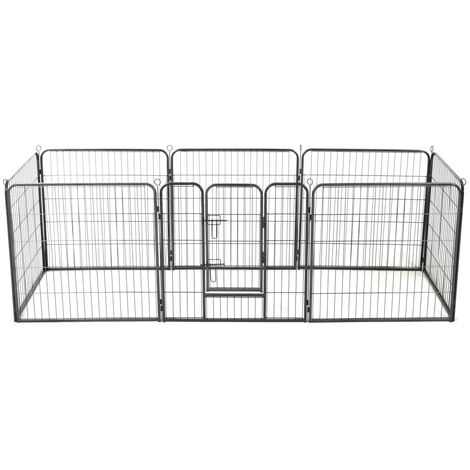 Dog Playpen 8 Panels Steel 80x80 cm Black - Black