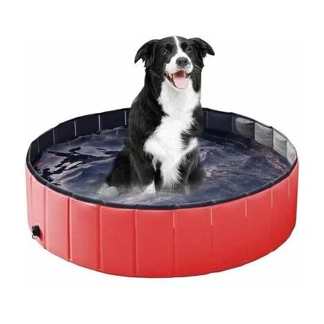 """main image of """"Dog pool with drain valve, foldable dog pool Cat pool Paddling pool Dog pool Dog bath PVC non-slip, wear-resistant, for children The dog cat 80 * 20cm Black + Red"""""""