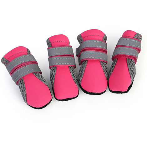 Dog Shoes Boots Soft Nonslip Sole Mesh Boots 4PCS rose red-size M
