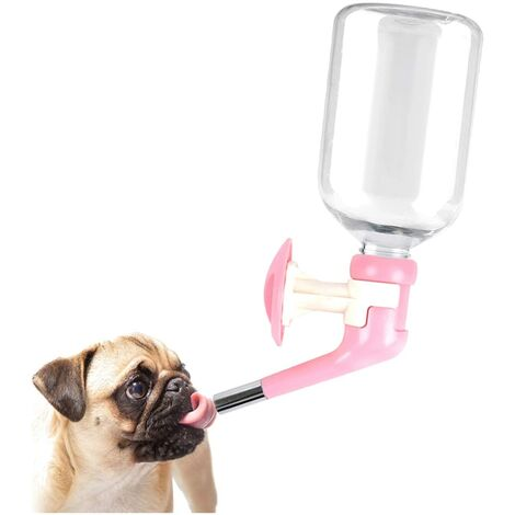 """main image of """"Dog Water Dispenser Bottle-Dog Kennel Cage Water Dispenser Water Drinker Kettle for Pets can be Raised and Lowered Drinking Water Feeding Cage Water Bottle for Dogs (Pink)"""""""