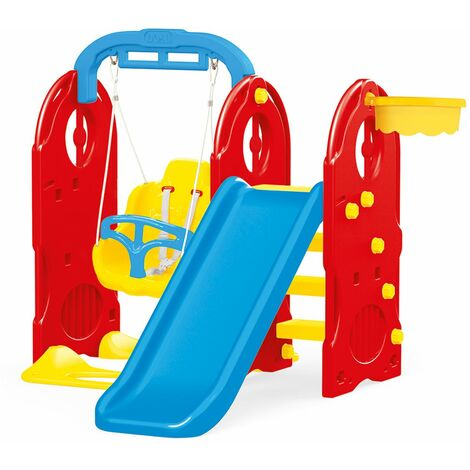 Dolu 4-In-1 Playground with Slide and Basketball Hoop Swing Pull Up Bar Centre