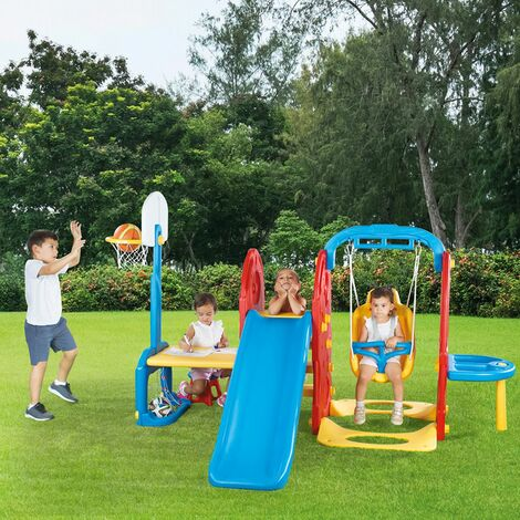 Dolu 7-In-1 Playground with Slide, Basketball Hoop, Swing, Sand Pit Play Centre