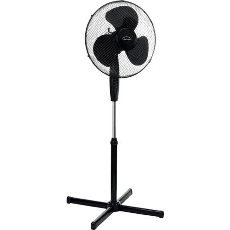 DOMAIR FL40II BK - Ventilateur sur Pied - 55 Watts - Inclinable et Orientable - Ajustable en Hauteur - 40 cm de Diamètre - Noir