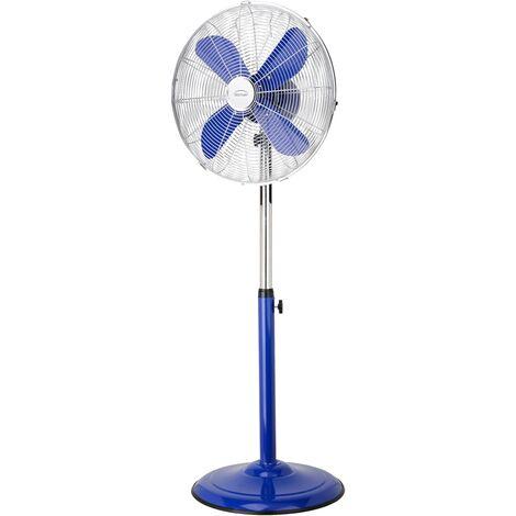 DOMAIR PM40 BLEU - Ventilateur sur Pied - 100% Métallique - Très Silencieux - Ajustable en hauteur - 40 cm de Diamètre - Bleu
