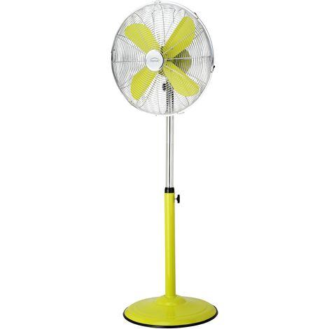 DOMAIR PM40 VERT - Ventilateur sur Pied - 100% Métallique - Très Silencieux - Ajustable en hauteur - 40 cm de Diamètre - Vert