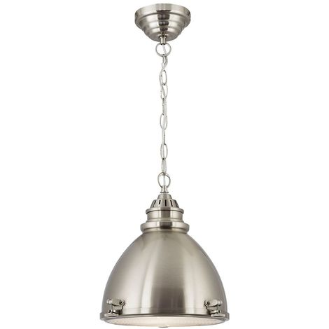 DOME CAGE PENDANT - 1 LIGHT SATIN NICKEL DOME WITH FROSTED GLASS DIFFUSER