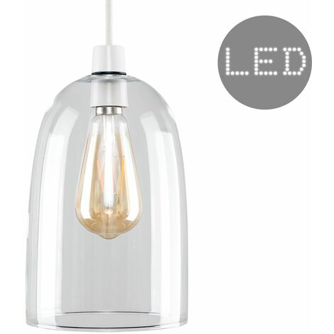Dome Shaped Glass Ceiling Pendant Light Shade + 4W LED Filament Bulb - Clear - Clear