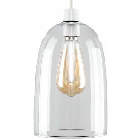Dome Shaped Glass Ceiling Pendant Light Shade - Clear - Silver