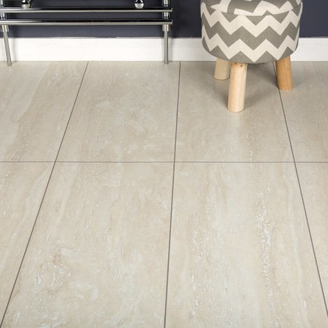 Domestic Kitchen Bedroom Hallway Laminate Flooring Light Travertine Tile 8mm Sample Does Not Ly