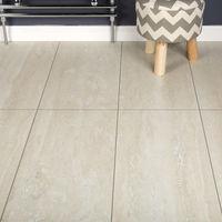 Domestic Kitchen/Bedroom/Hallway Laminate Flooring - Light Travertine Tile 8mm - SAMPLE