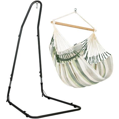 Domingo Cedar - Chaise-hamac comfort avec support en acier revêtu par poudre