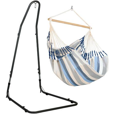 Domingo Sea Salt - Chaise-hamac comfort avec support en acier revêtu par poudre