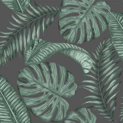 Dominica Black Green Wallpaper Skinny Dip London Palm Leaf Jungle Tropical