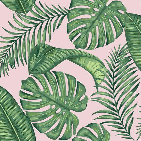 Dominica Pink Green Wallpaper Skinny Dip London Palm Leaf Jungle Tropical