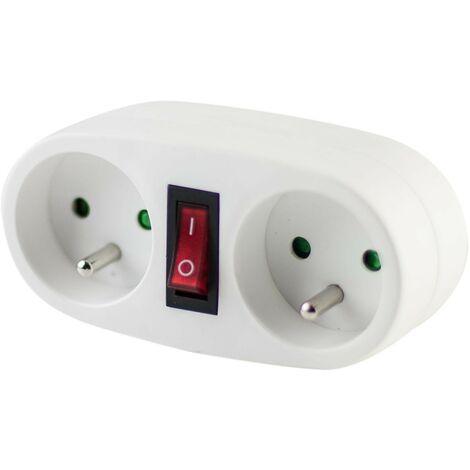 Domino blanc avec interrupteur - 2 x 16 A