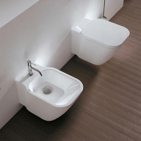 Domus Falerii F50 Special – Duo de sanitaires suspendus au ras du mur série F50 Special. Bidet + WC sans bride, avec abattant avec frein de chute (code F50Special_sosp)
