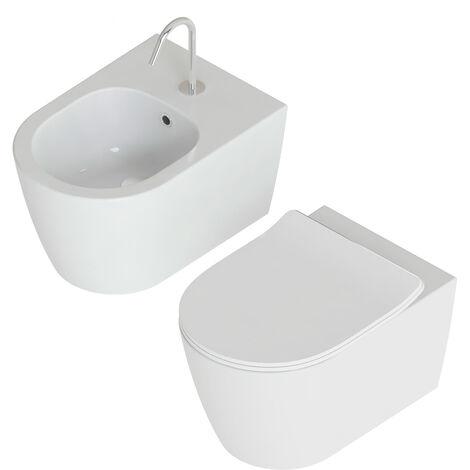 Domus Falerii Foglia Medium - Duo des sanitaires suspendu sans bride + abattant Soft Close. (code FALEFOGLIAMS_RIMLESS)