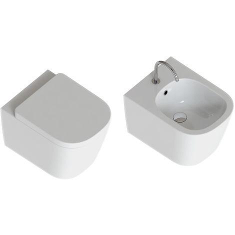 Domus Falerii Foglia Quadra – Duo de sanitaires suspendus au ras du mur série Foglia Quadra. Bidet + WC sans bride, avec abattant avec frein de chute (code QUADRASOS)