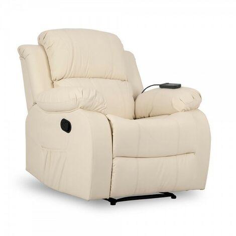 Don Descanso-Sillón Masaje Trevi Crema Reclinable 160º, 8 Motores Silenciosos, Calor Lumbar, 4 Zonas de Masaje y PU Anti-Cuarteo