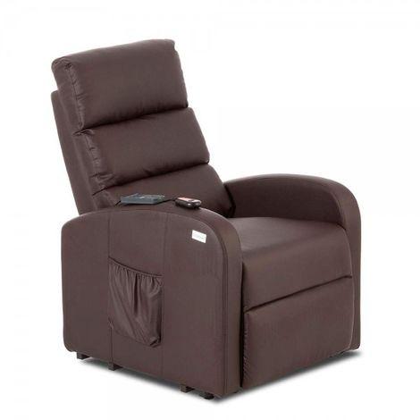 Don Descanso - Sillón Relax Levanta Personas Marrón Tapizado en Full PU, con Sistema de Masaje y Calor Lumbar
