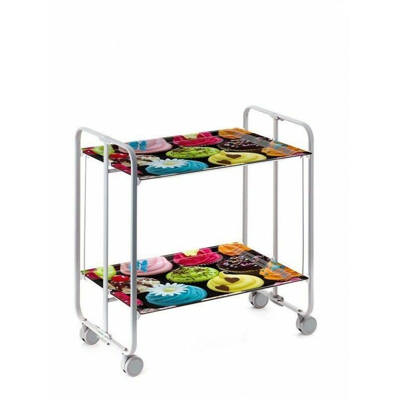 DON HIERRO, Carrito camarera BAUHAUS, armazón metálico de color gris, 2 bandejas,. Diseño y fabricación española.