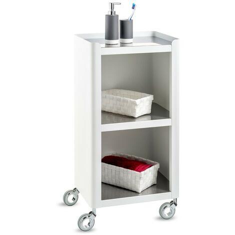 DON HIERRO - Meuble de rangement, salle de bain et maison, blanc - inox, LOUISE