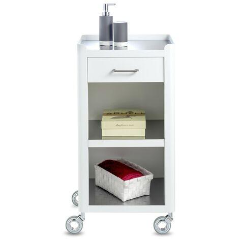 DON HIERRO - Meuble de rangement, salle de bain et maison, blanc - inox, THELMA
