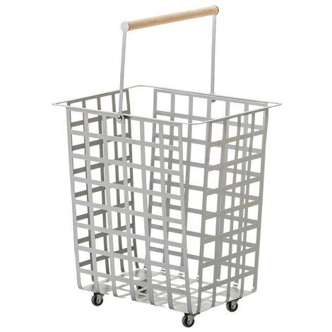 DON HIERRO, ZESTAS - Cesta con ruedas y asa de madera haya,. Diseño y fabricación española.