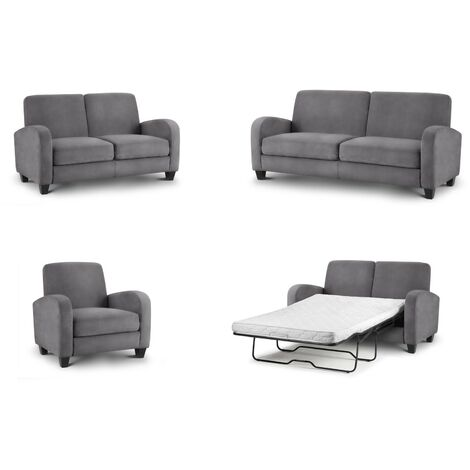 Dona 2 Seater Sofa Bed Fold Out Couch Dusk Grey Chenille Fabric