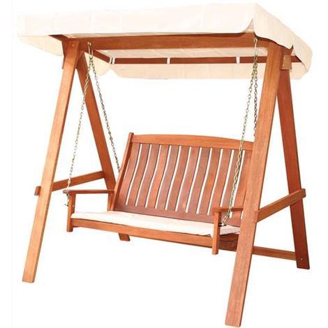 Dondolo da giardino impression viet legno con cuscino for Dondolo da giardino usato