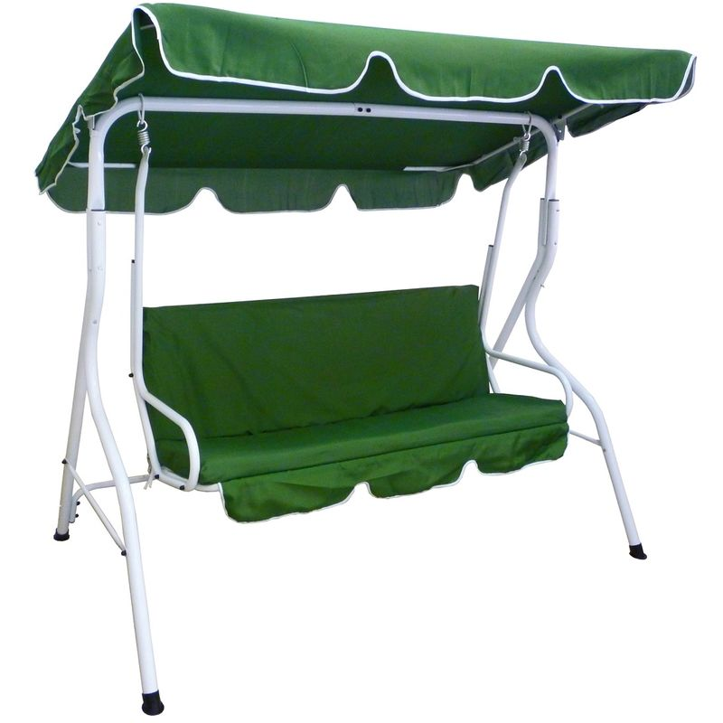 Dondolo Verde 3 Posti Da Giardino Per Esterno In Metallo E Ferro Con Cuscino E Tettino Per Veranda Terrazzo