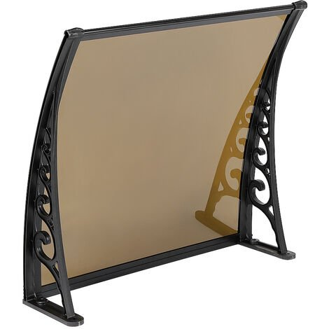 Door Canopy Awning, Canopy Transparent, Solid Board 2.5mm, Brown 60 x 100cm