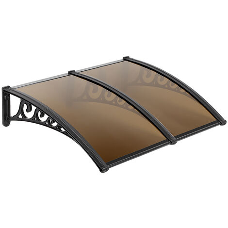 Door Canopy Awning, Canopy Transparent, Solid Board 2.5mm, Brown 75 x 155cm