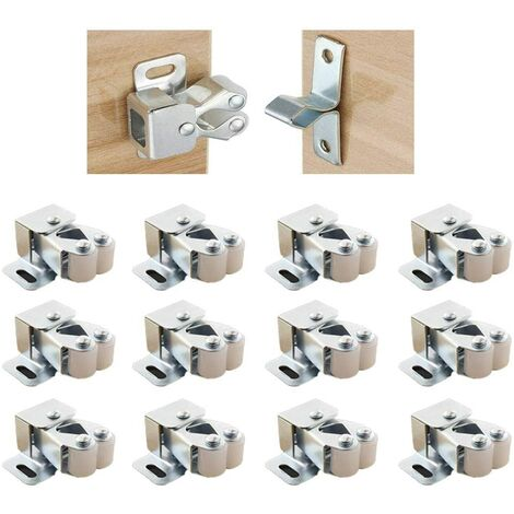 Door Closures with Double Latch Double Screw for Cupboard Cabinet Stainless Steel Lock Cabinet Cabinet Closet and Drawer (12 pieces)