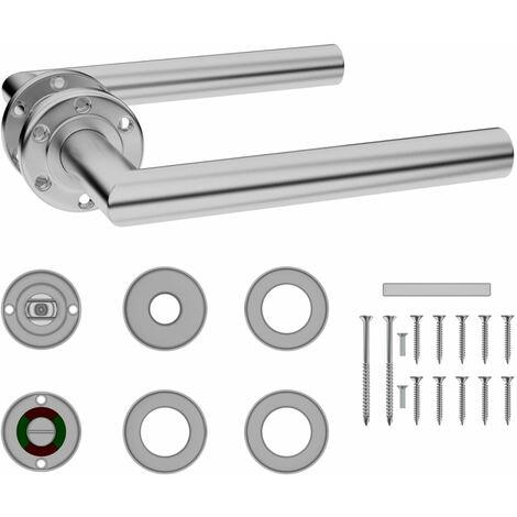 "main image of ""Door Handle Set with WC Lock Stainless Steel"""