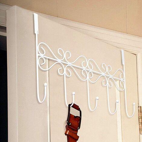 Door Hook, Coat Rack Aluminum Alloy Door Hook with 5/6 Hooks Towel Rack Door Hook Hook Coat / Towel / Hat Rack Hook (5 Hook (White))