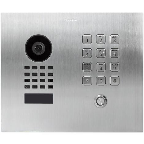 Doorbird - D1101KH CFM - Portier vidéo IP avec 1 bouton d'appel et clavier à code - Encastrable - Argent